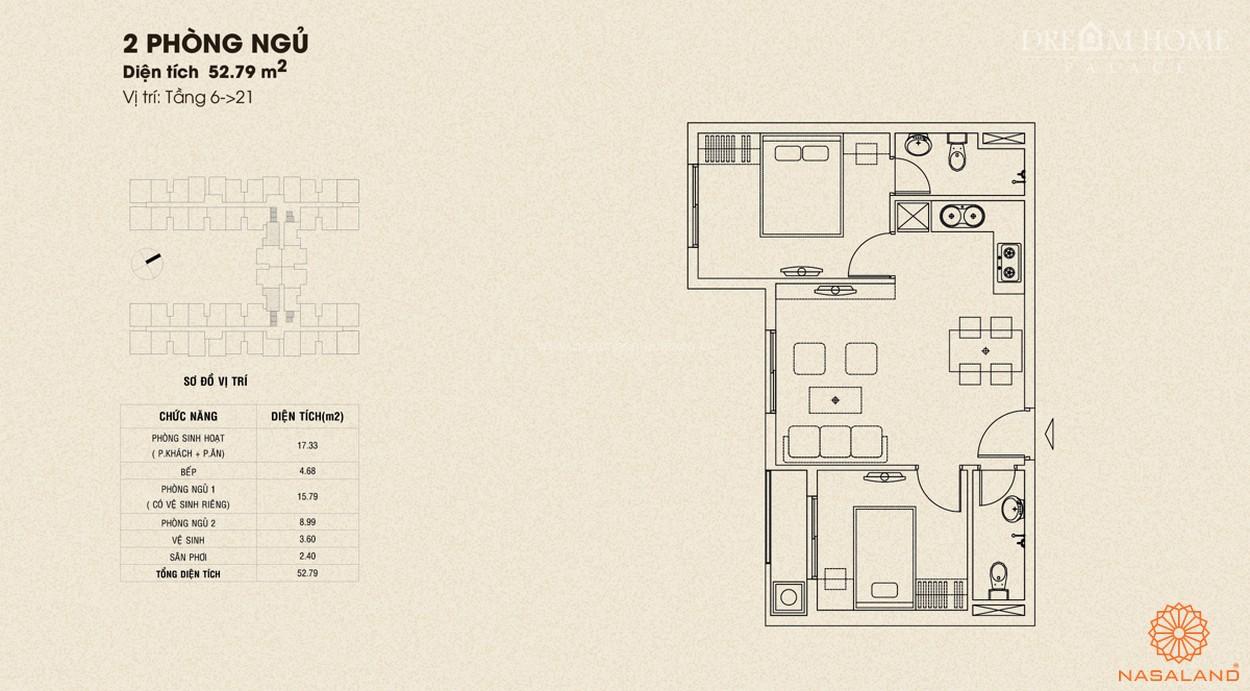 Mặt bằng căn 2PN dự án căn hộ Dream Home Palace quận 8