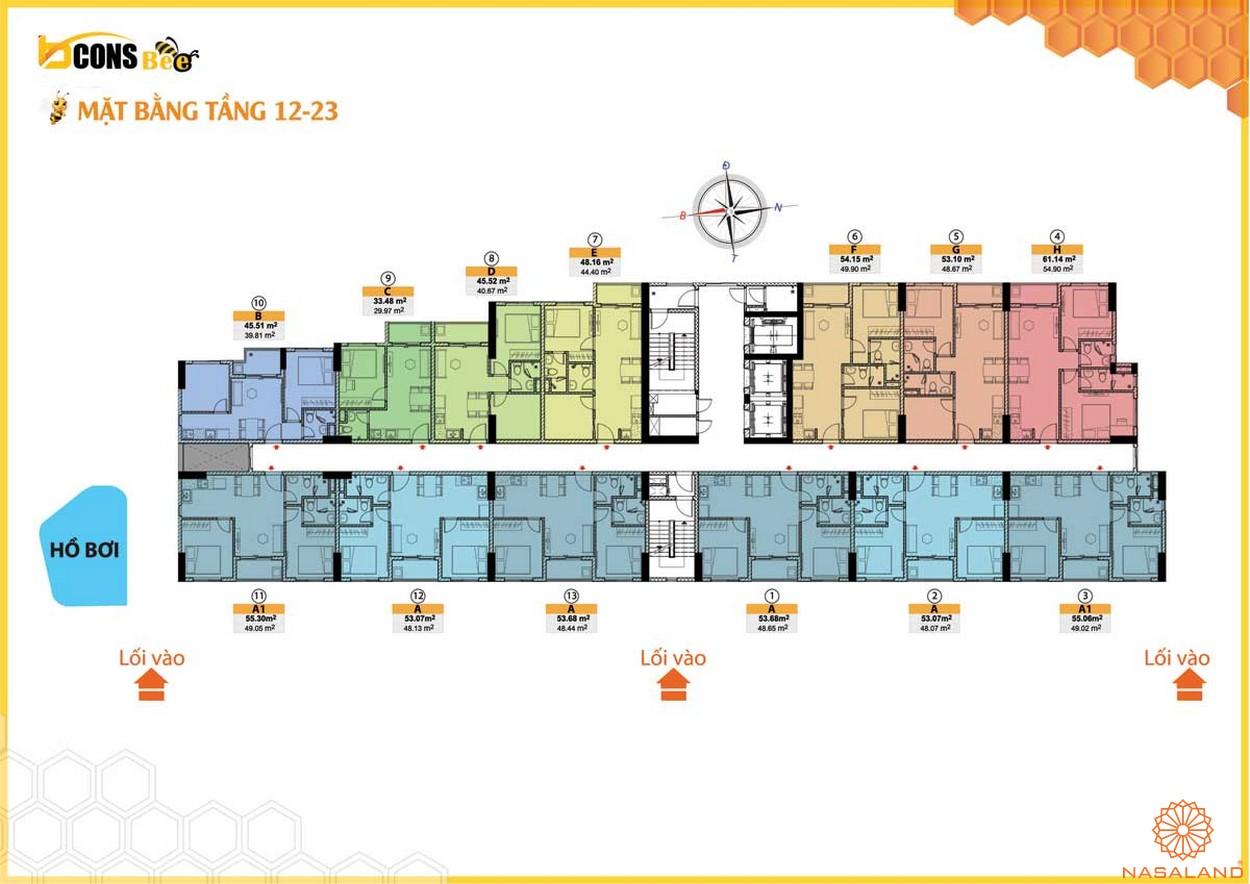 Mặt bằng dự án căn hộ Bcons Bee Bình Dương tầng 12