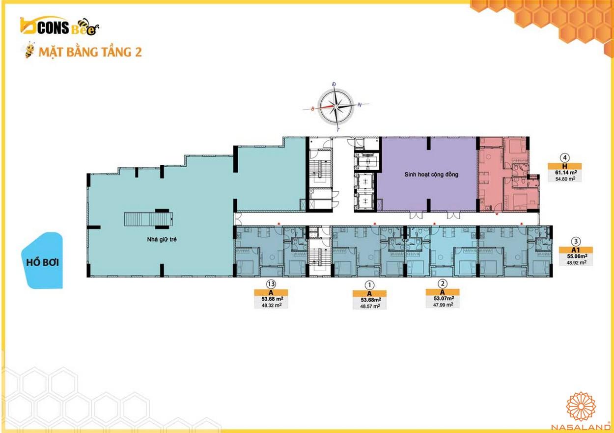 Mặt bằng dự án căn hộ Bcons Bee Bình Dương tầng 2
