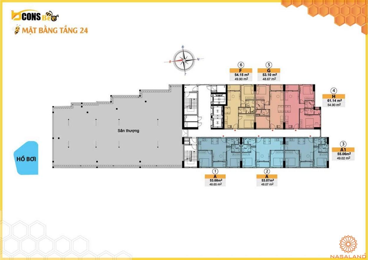 Mặt bằng dự án căn hộ Bcons Bee Bình Dương tầng 24
