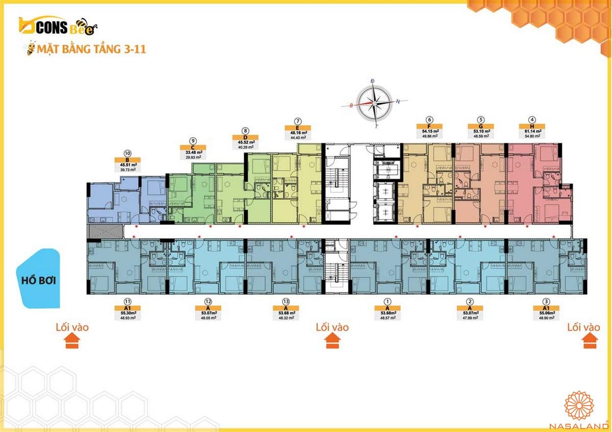 Mặt bằng dự án căn hộ Bcons Bee Bình Dương tầng 3-11