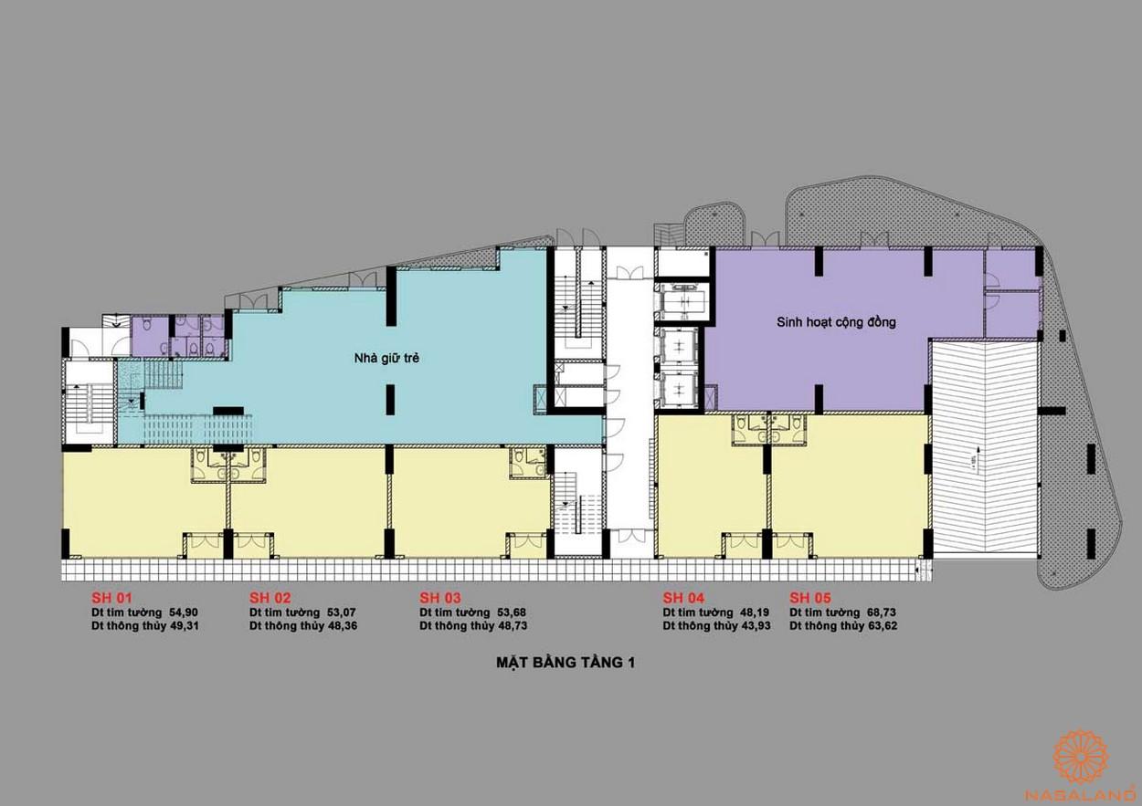 Mặt bằng dự án căn hộ Bcons Bee Bình Dương tầng trệt