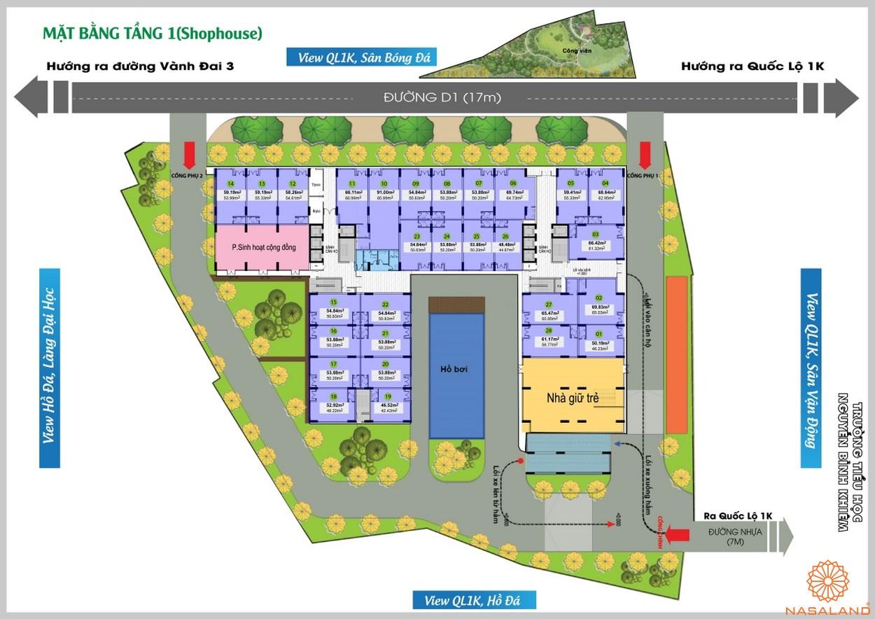 Mặt bằng tầng 1 của dự án căn hộ Bcons Green View