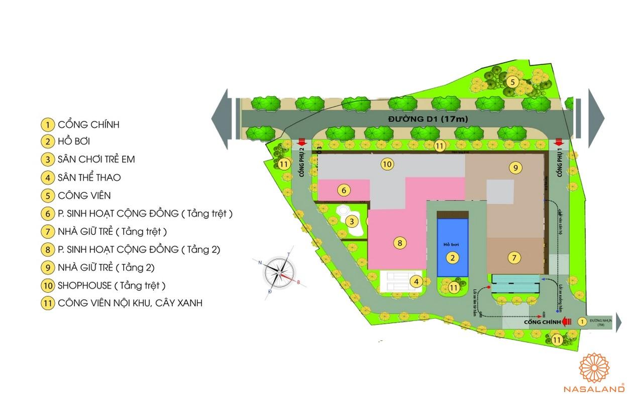 Mặt bằng tiện ích của dự án căn hộ Bcons Green View