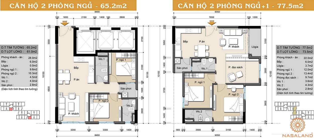 Mặt bằng dự án căn hộ High Intela 2PN 1WC