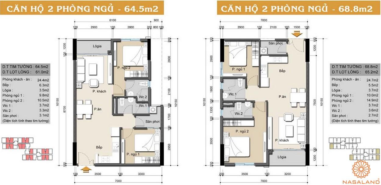 Mặt bằng dự án căn hộ High Intela 2PN 2WC