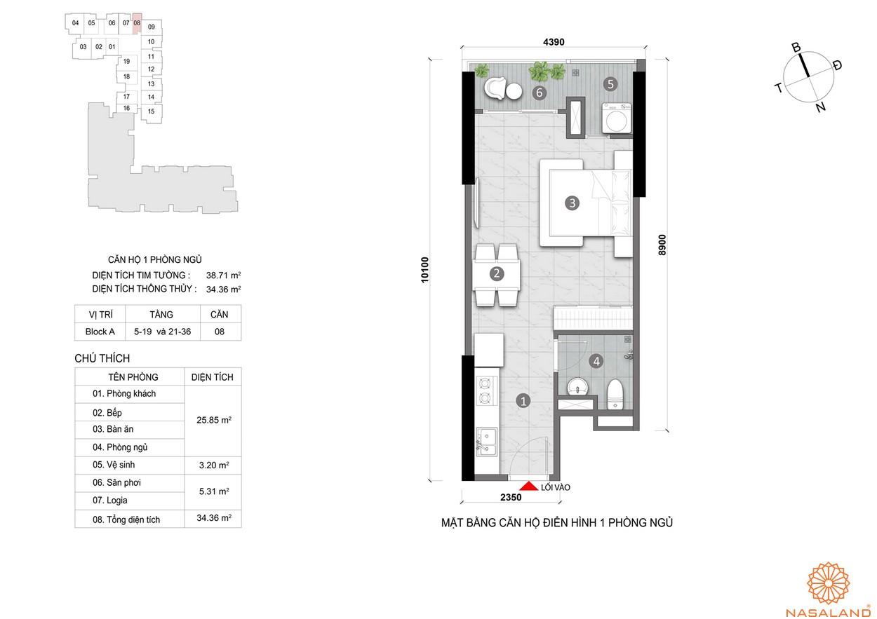 Mặt bằng căn hộ Opal Skyline 1PN cao cấp