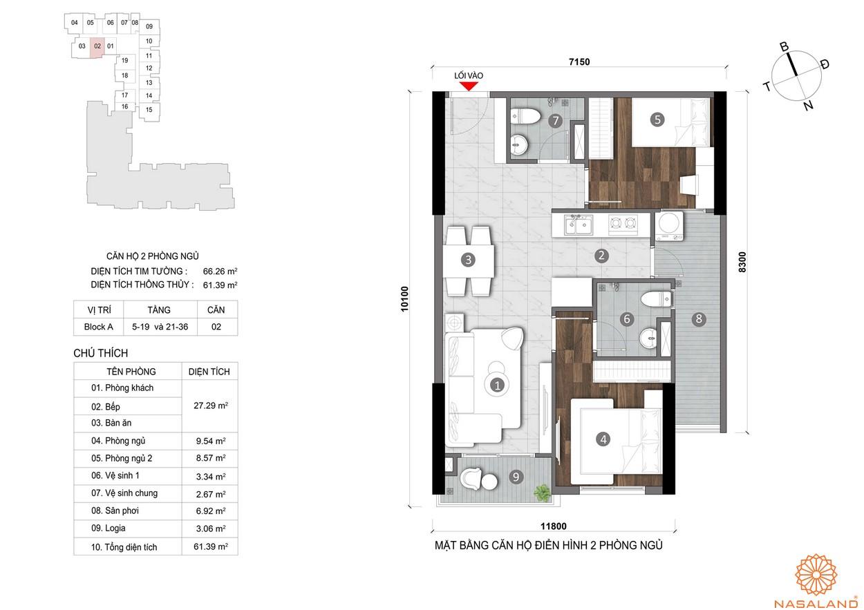 Mặt bằng căn hộ Opal Skyline 2PN cao cấp