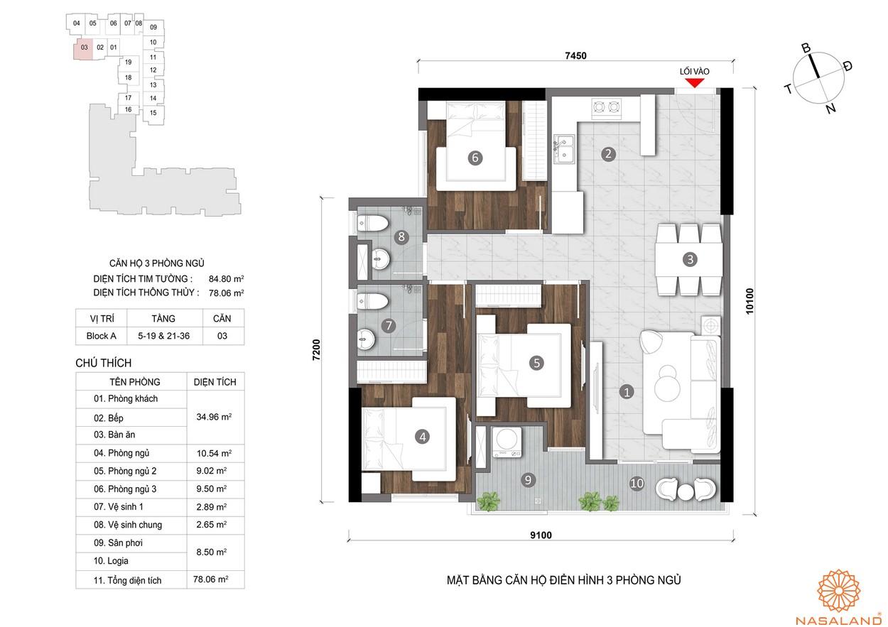 Mặt bằng căn hộ Opal Skyline 3PN cao cấp