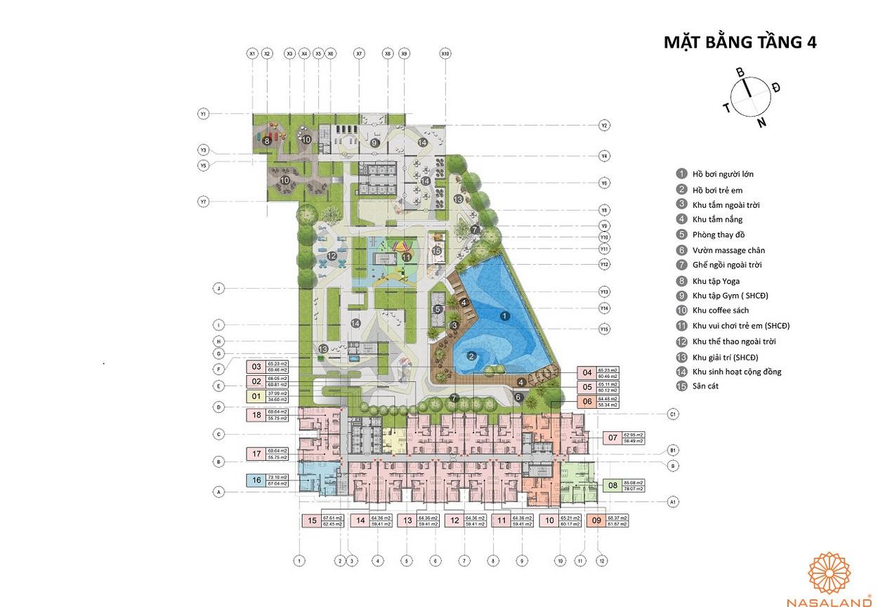 Mặt bằng tầng 4 dự án căn hộ Opal Skyline