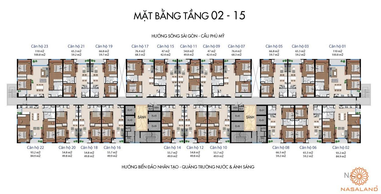Mặt bằng tầng 2 -15 dự án căn hộ River City