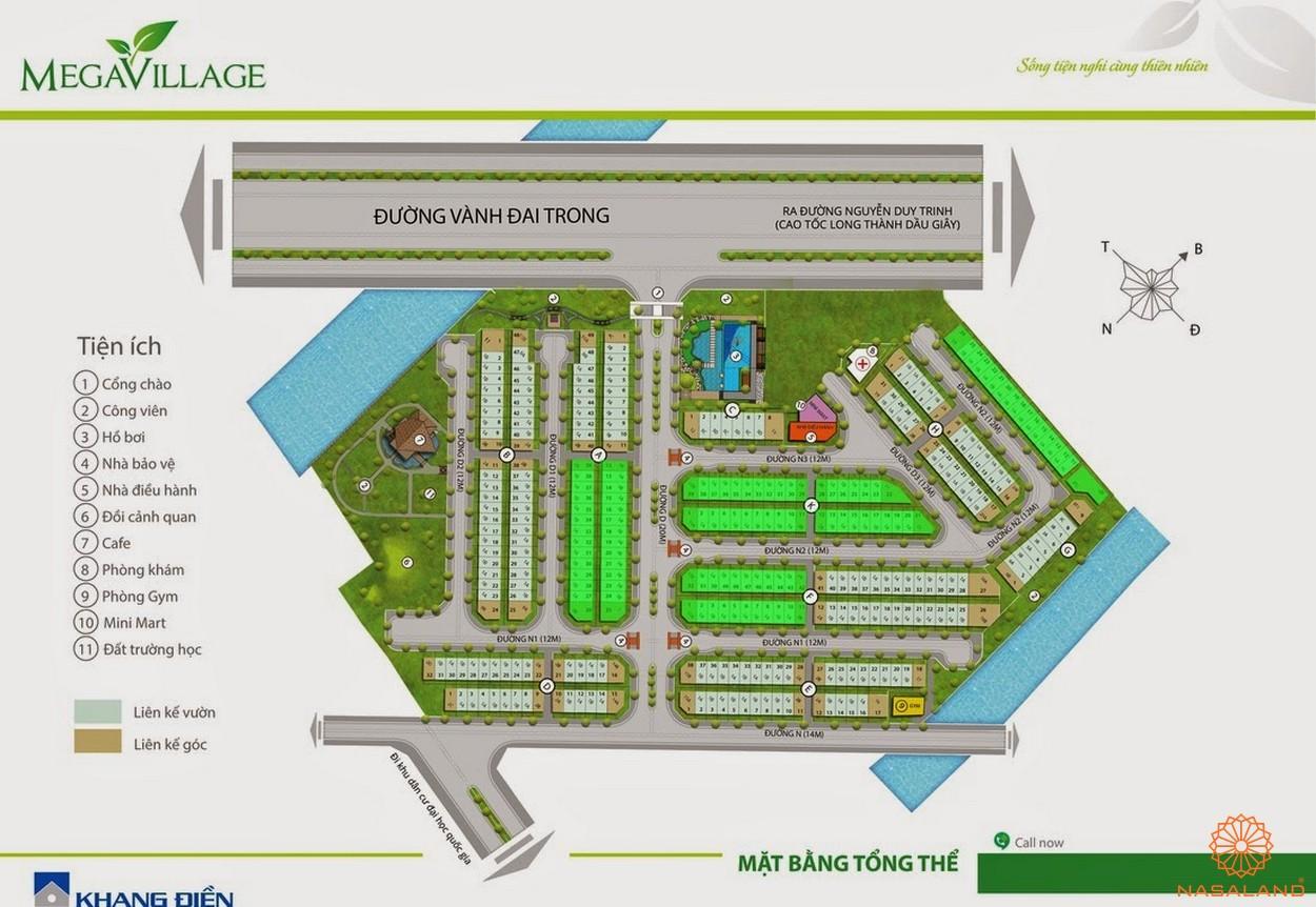 Mặt bằng tổng quan dự án nhà phố Mega Village quận 9