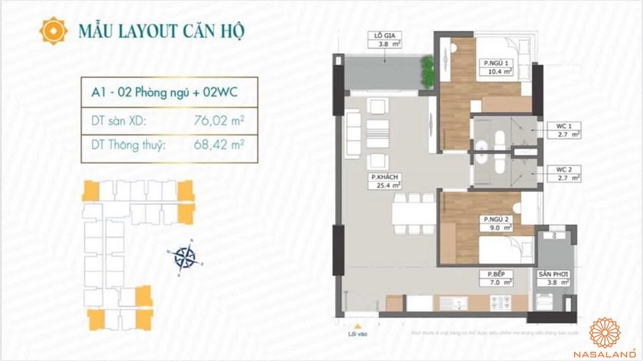 Mặt bằng dự án căn hộ Phú Đông Sky Garden Bình Dương mẫu A1