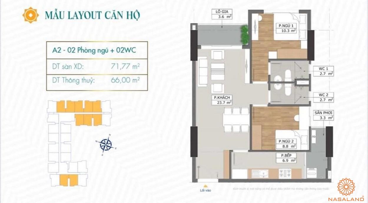Mặt bằng dự án căn hộ Phú Đông Sky Garden Bình Dương mẫu A2