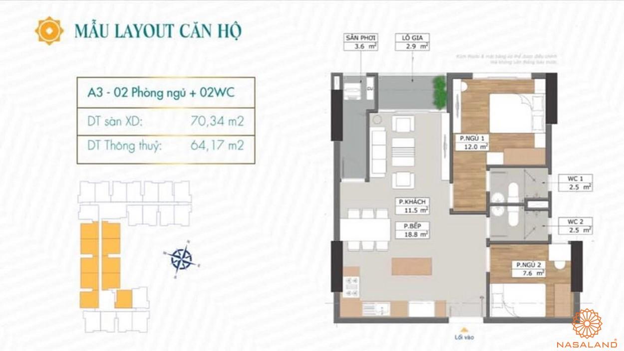 Mặt bằng dự án căn hộ Phú Đông Sky Garden Bình Dương mẫu A3