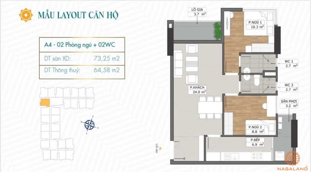 Mặt bằng dự án căn hộ Phú Đông Sky Garden Bình Dương mẫu A4