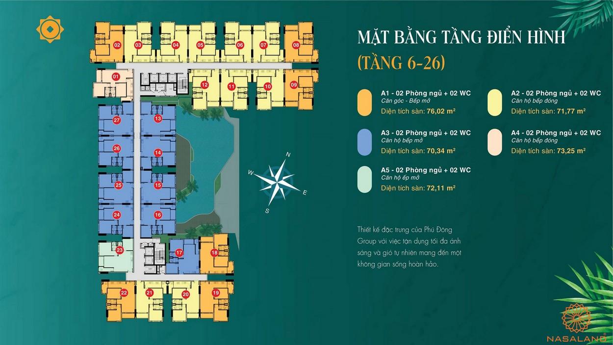 Mặt bằng dự án căn hộ Phú Đông Sky Garden Bình Dương tầng điển hình