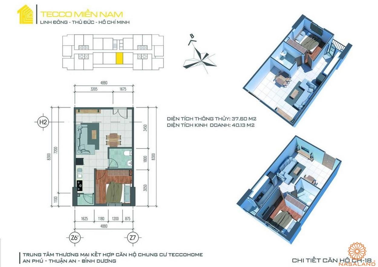 Mặt bằng dự án căn hộ Tecco Homes Bình Dương - 1PN 1WC