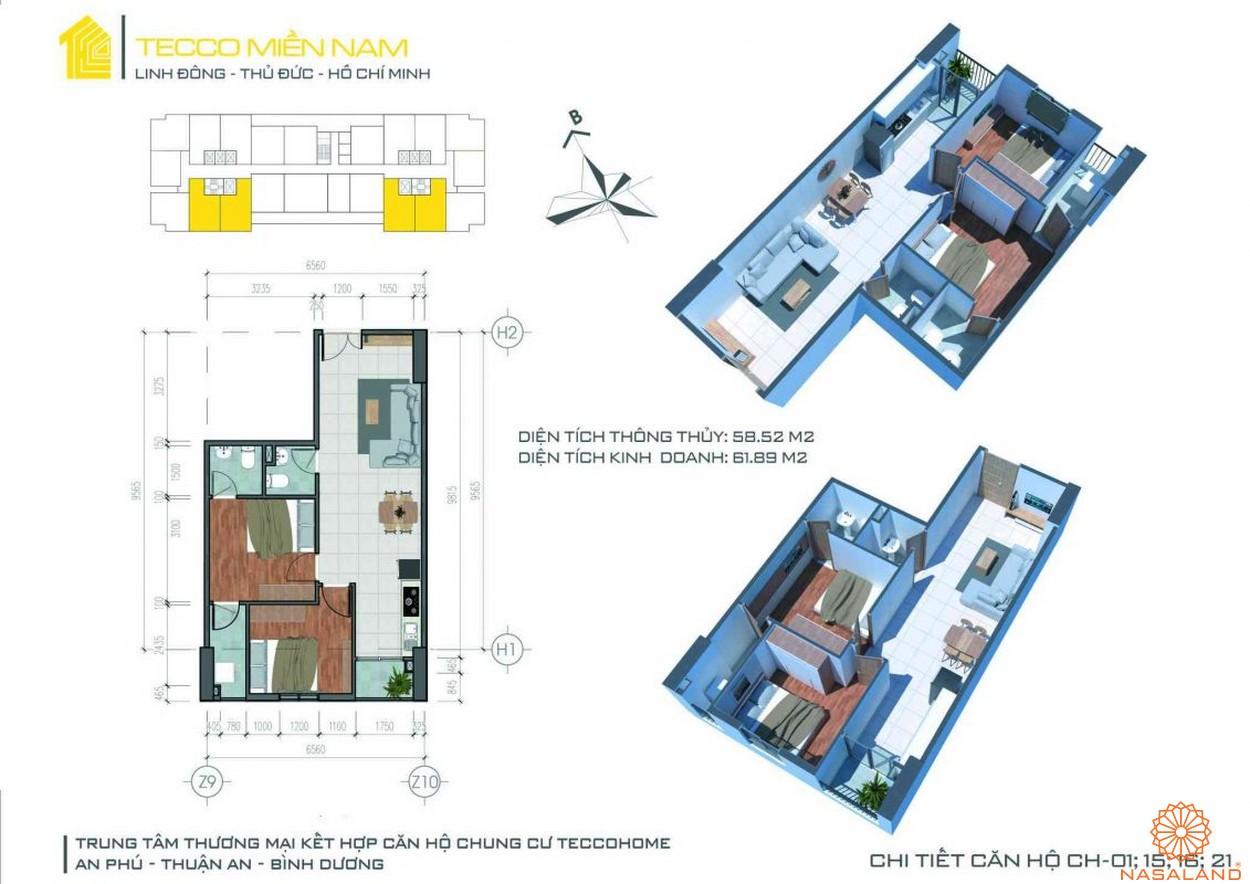 Mặt bằng dự án căn hộ Tecco Homes Bình Dương - 2PN 2WC mẫu 2