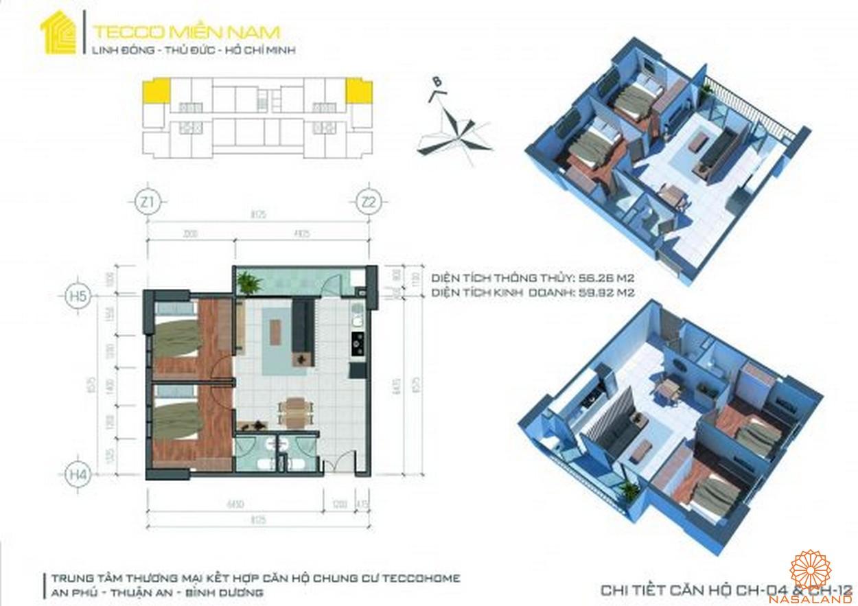 Mặt bằng dự án căn hộ Tecco Homes Bình Dương - 2PN 2WC mẫu 3