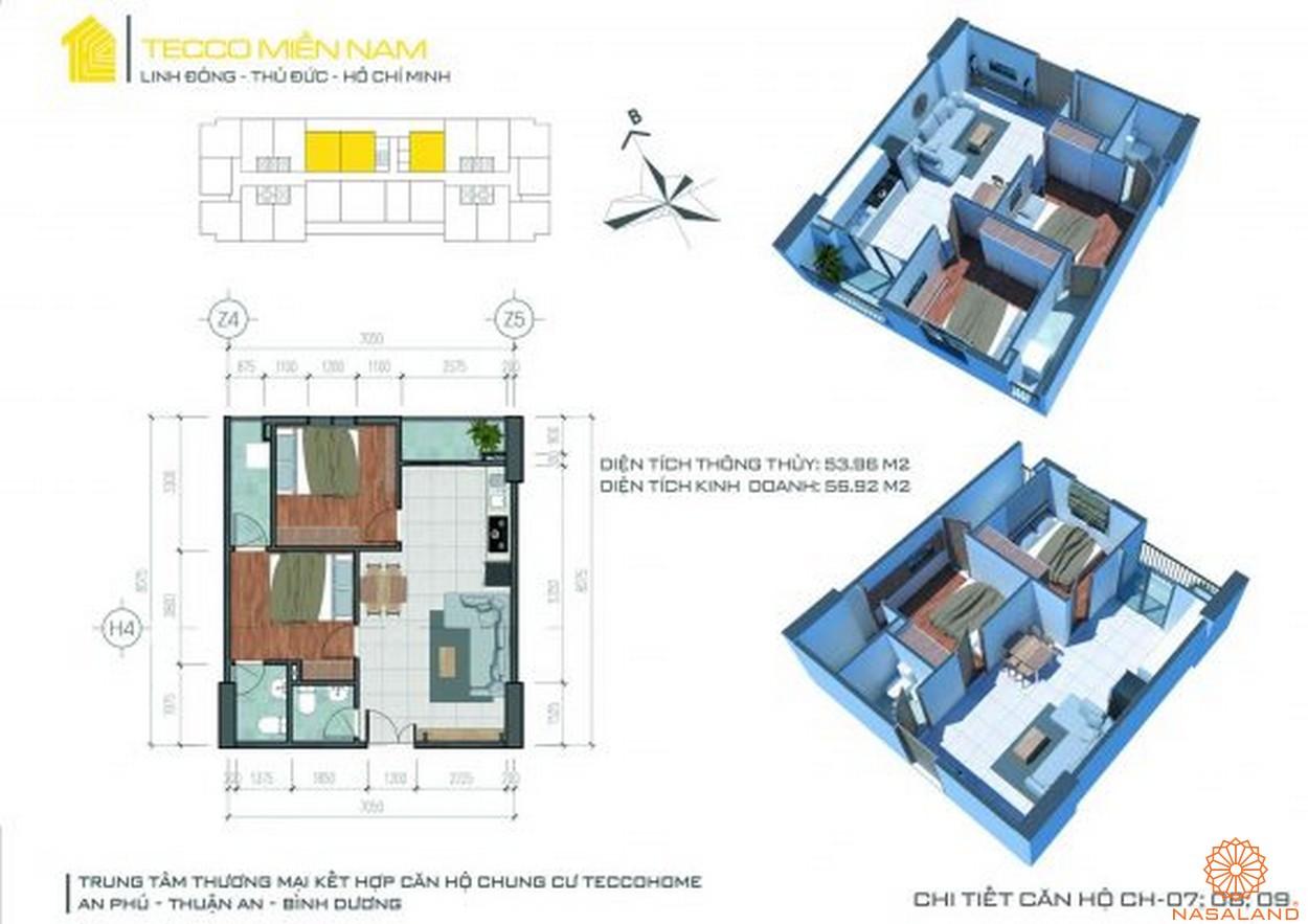 Mặt bằng dự án căn hộ Tecco Homes Bình Dương - 2PN 2WC