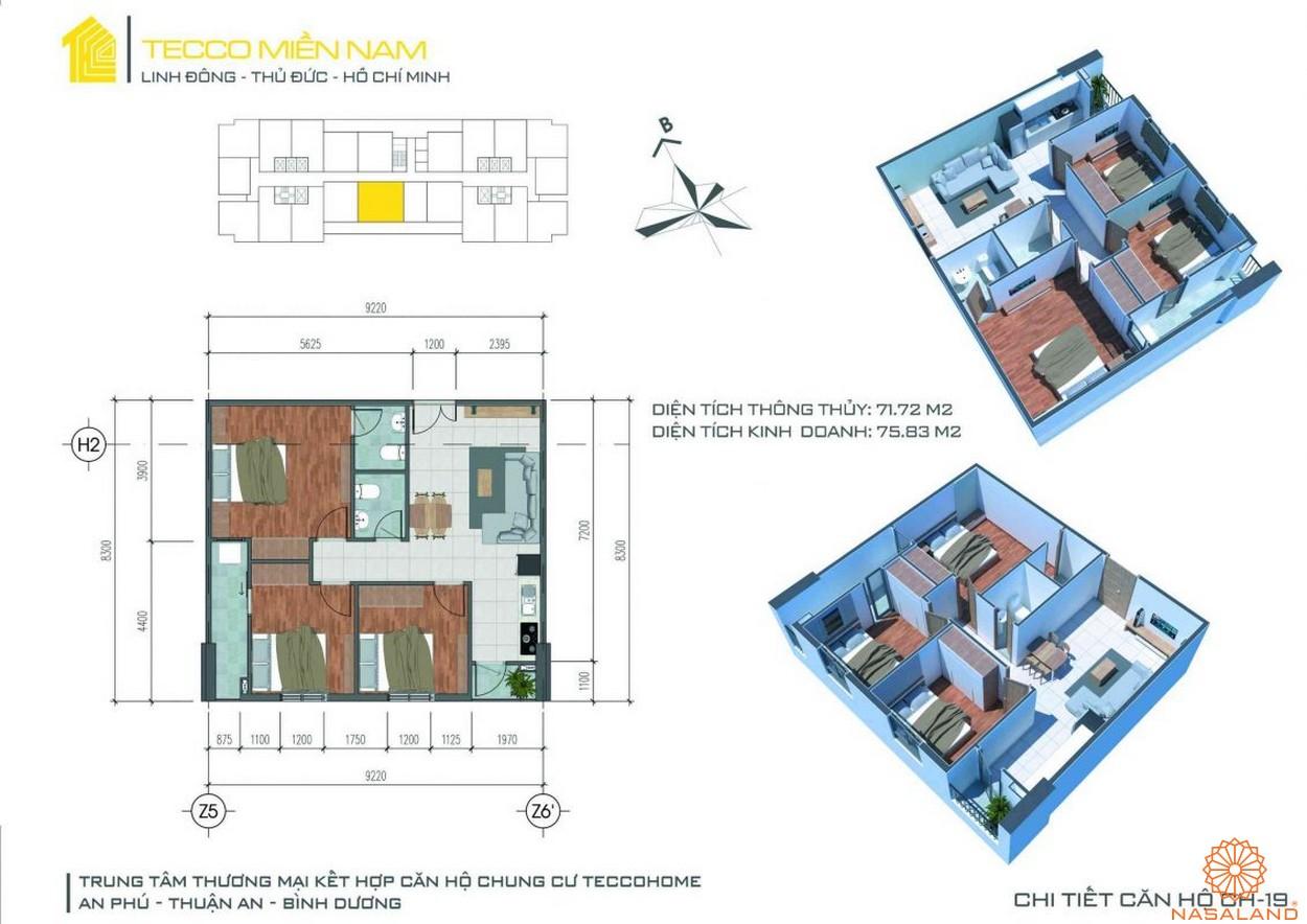 Mặt bằng dự án căn hộ Tecco Homes Bình Dương - 3PN