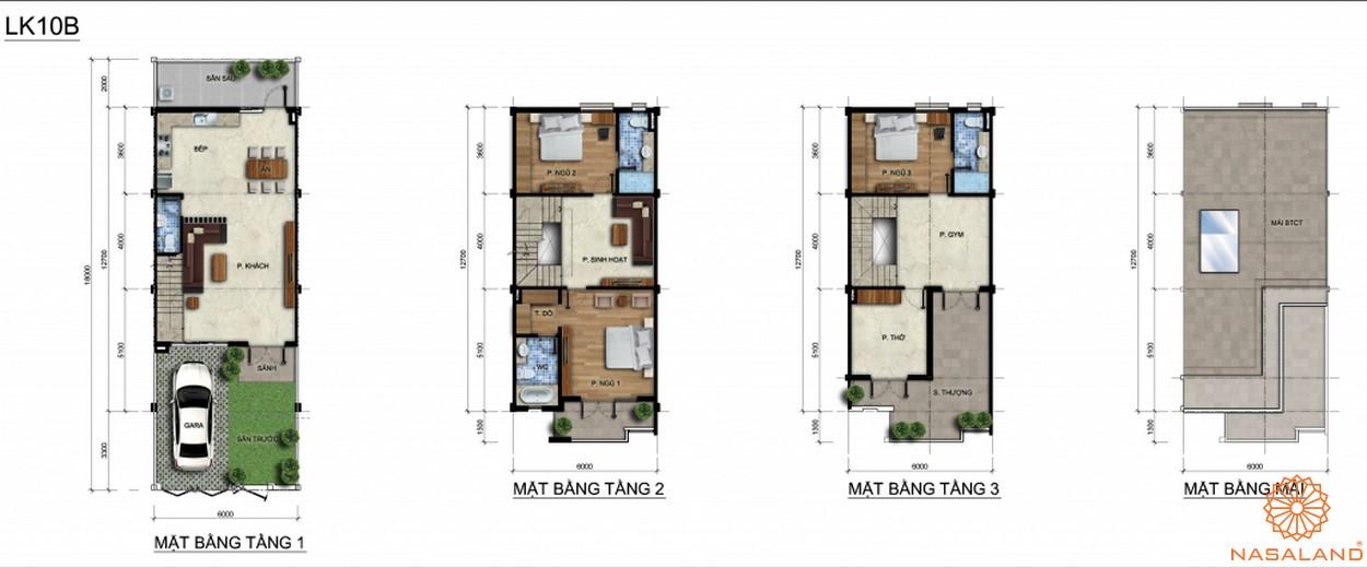 Mặt bằng cắt lớp từng tầng của một căn hộ liền kế mẫu
