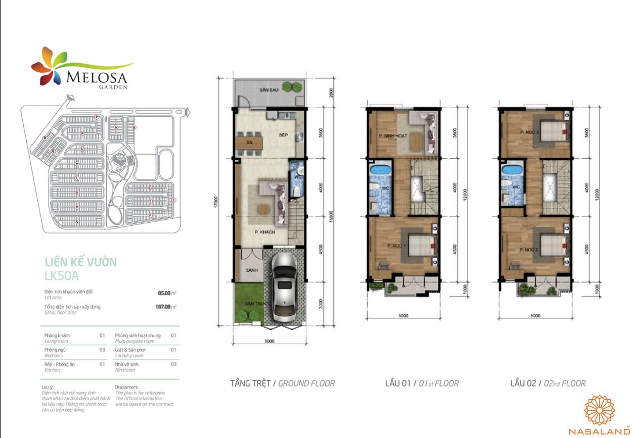 Mặt bằng cắt lớp từng tầng của một căn hộ liền kế vườn mẫu