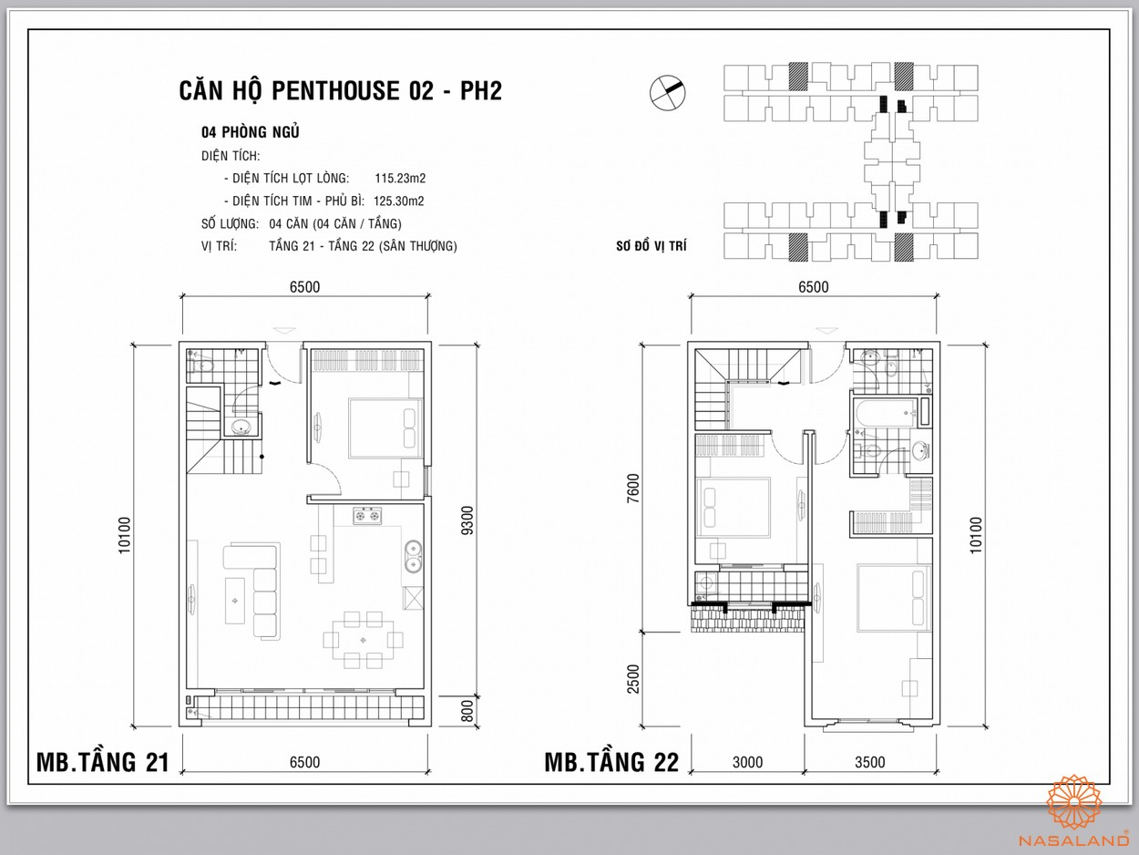 Mặt bằng penthouse dự án căn hộ Dream Home Palace quận 8