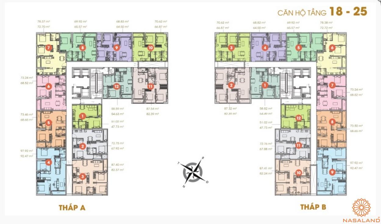 Mặt bằng căn hộ chung cư Central Premium tầng 18-25