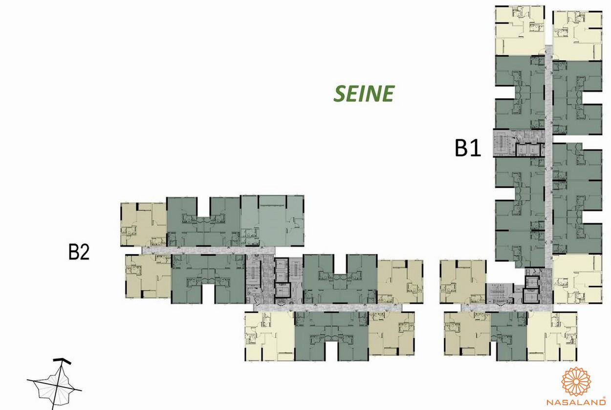 Mặt bằng tầng 3-16 block B Seine dự án căn hộ West Gate Bình Chánh