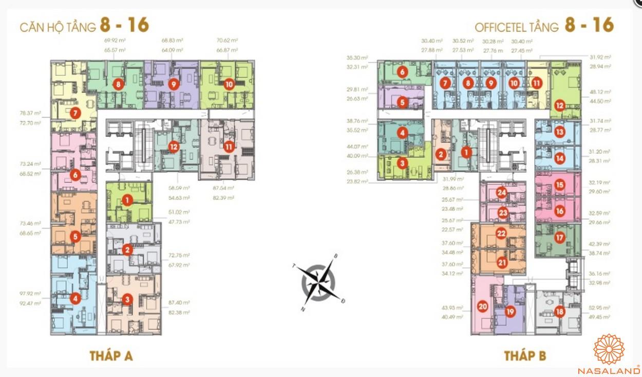 Mặt bằng căn hộ chung cư Central Premium tầng 8-16