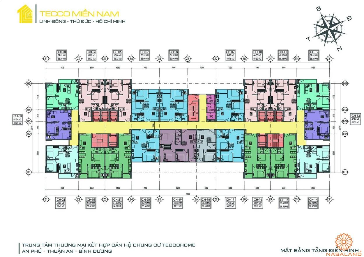 Mặt bằng dự án căn hộ Tecco Homes Bình Dương