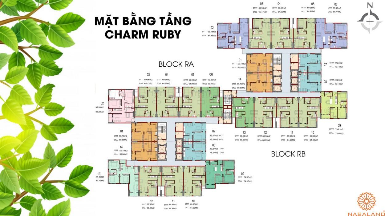 Mặt bằng tầng dự án căn hộ Charm City