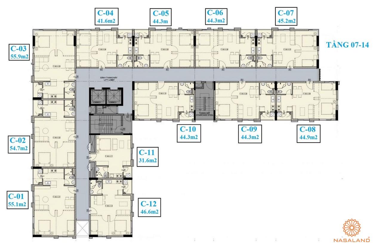Mặt bằng tầng 07-14 của dự án