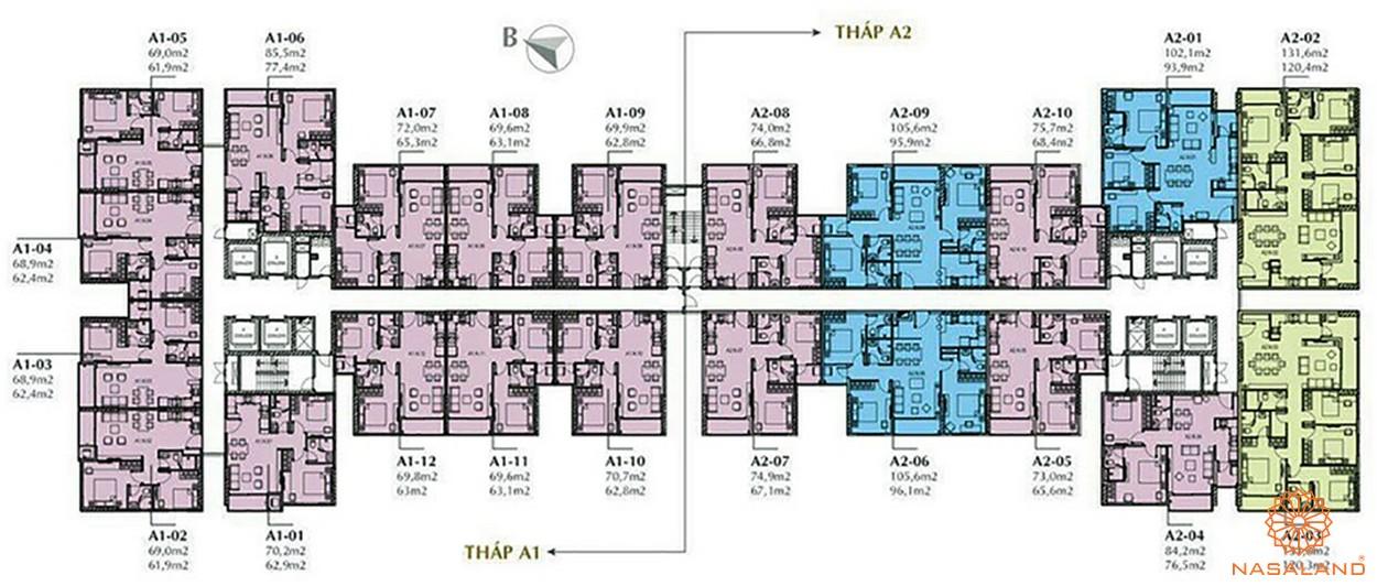 Mặt bằng tổng thể 2 tòa S1 và S2 của dự án căn hộ Sunshine City Sài Gòn quận 7