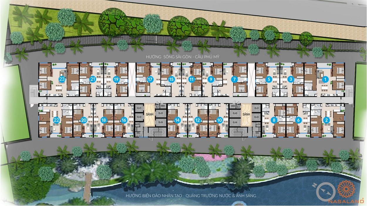 Mặt bằng tầng trệt dự án căn hộ River City