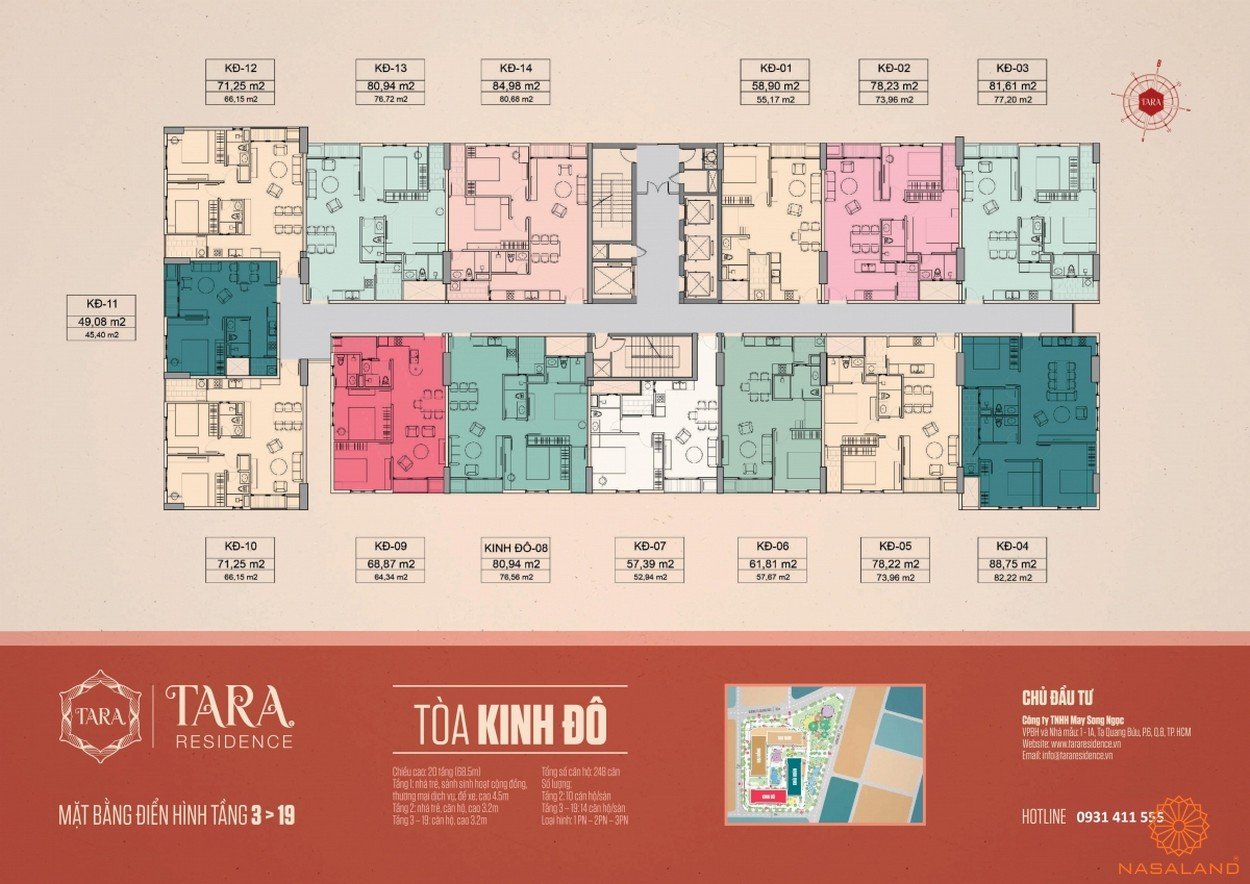 Mặt bằng tòa Kinh Đô căn hộ Tara Residence