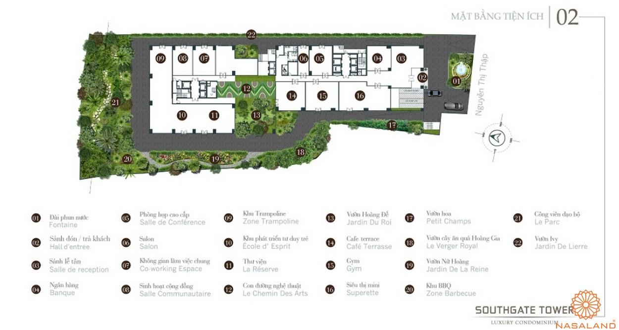 Mặt bằng tiện ích dự án căn hộ South Gate Tower quận 7