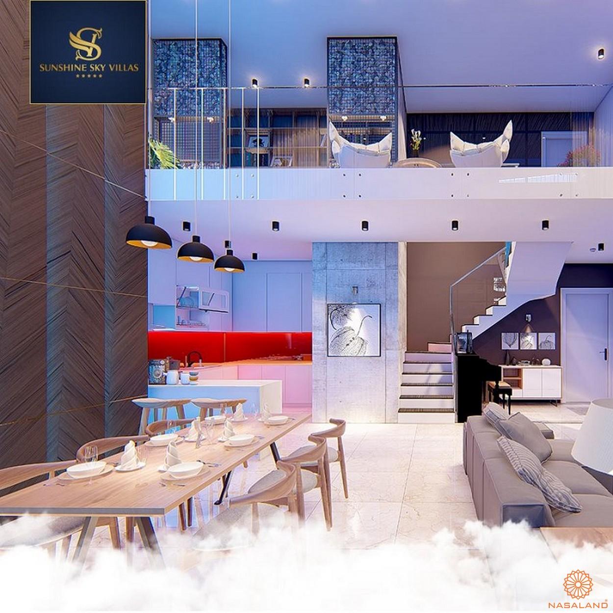 Hình ảnh nội thất bàn ăn và tầng lửng tại dự án