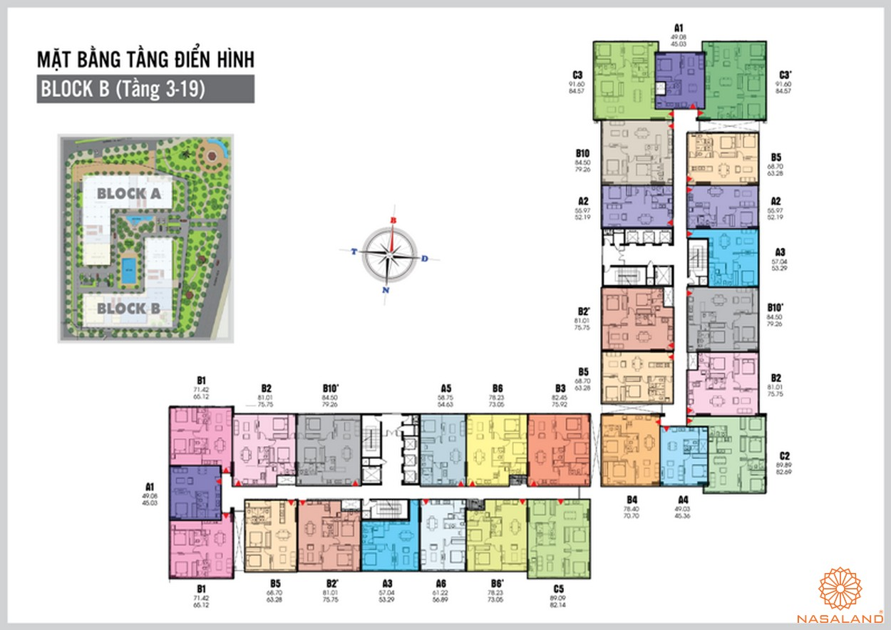 Mặt bằng tầng 3 - 19 block A căn hộ Tara Residence
