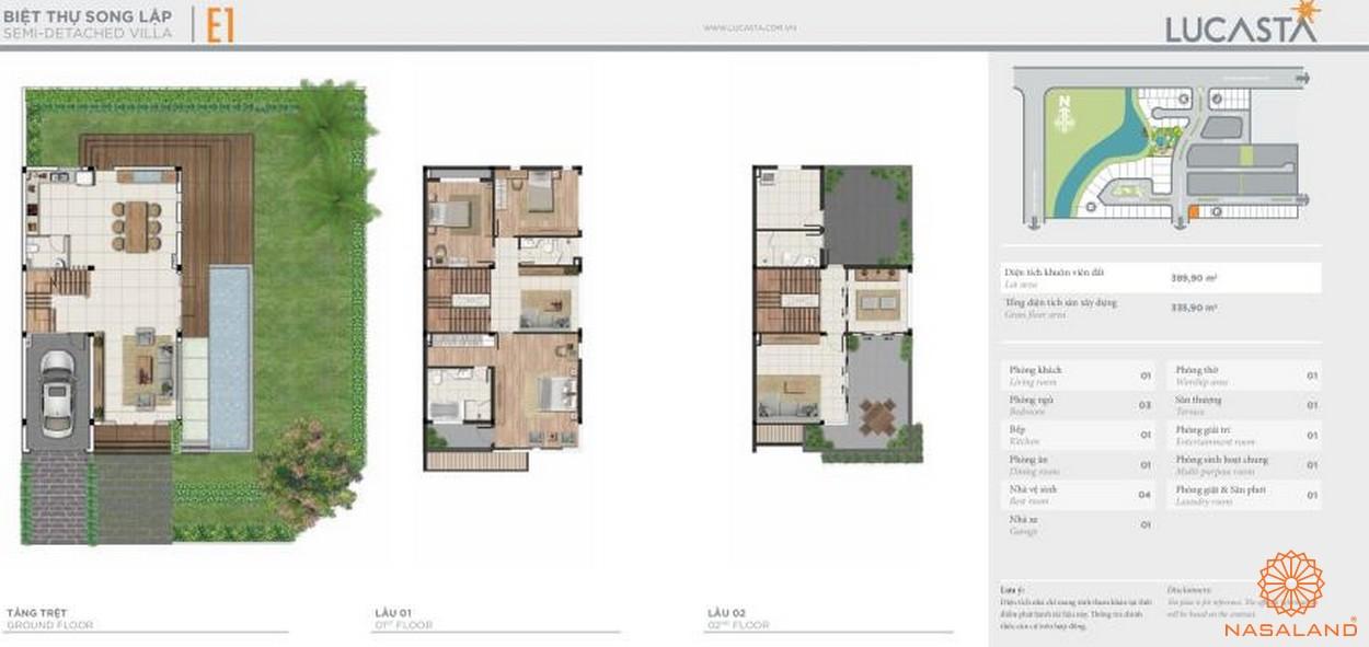 Thiết kế biệt thự liên kề E1 tại dự án biệt thự Lucasta quận 9
