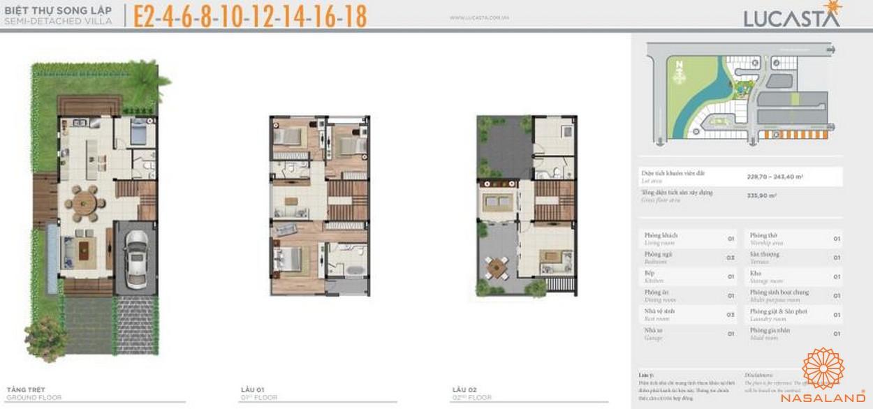 Thiết kế biệt thự liên kề E2-4-6-8-10-12-14-16-18 tại dự án biệt thự Lucasta quận 9