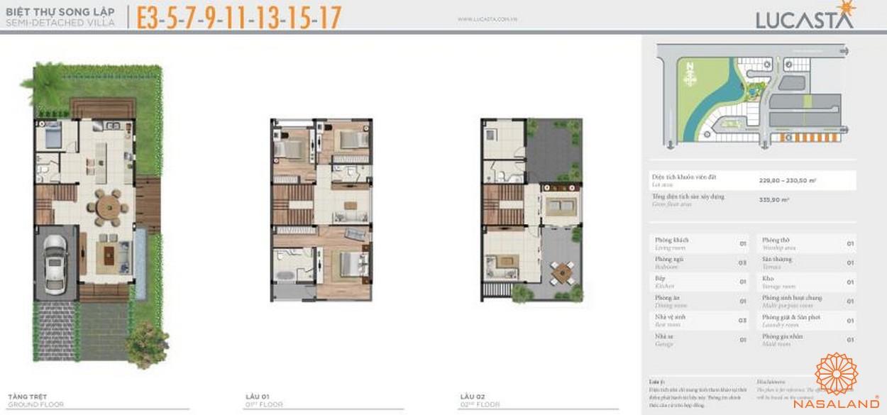 Thiết kế biệt thự liên kề E3-5-7-9-11-13-15-17 tại dự án biệt thự Lucasta quận 9