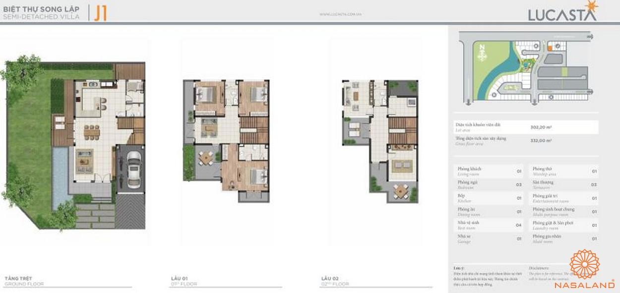Thiết kế biệt thự liên kề J1 tại dự án biệt thự Lucasta quận 9