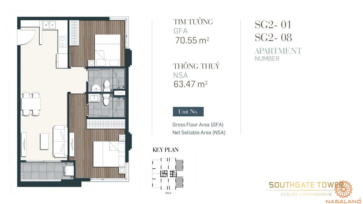 Thiết kế căn loại 1 dự án căn hộ South Gate Tower quận 7