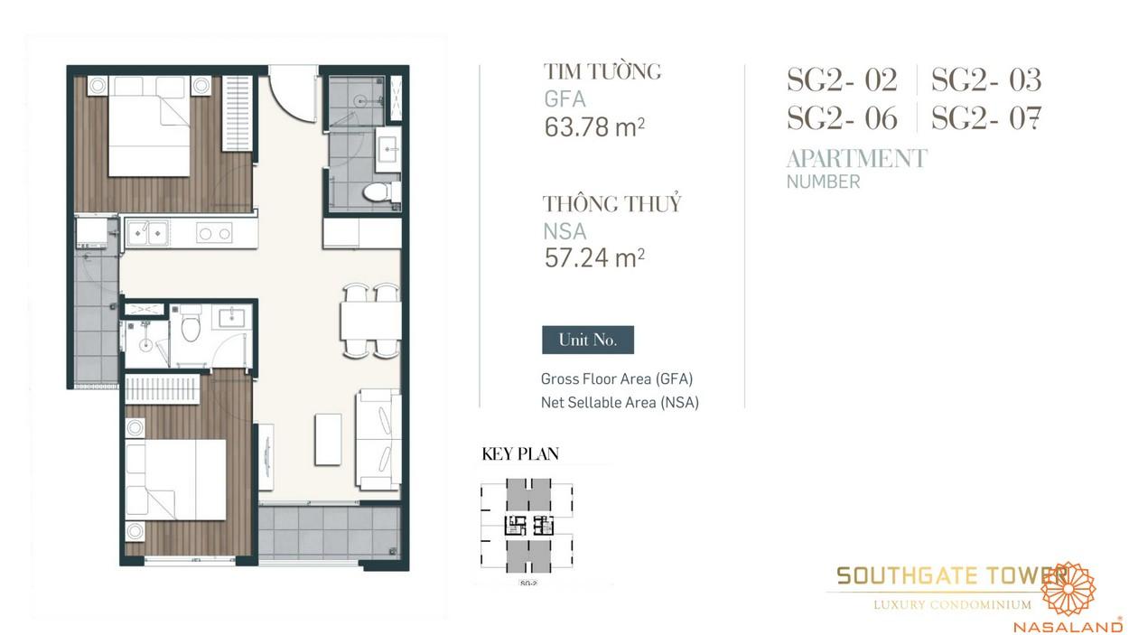 Thiết kế căn loại 2 dự án căn hộ South Gate Tower quận 7