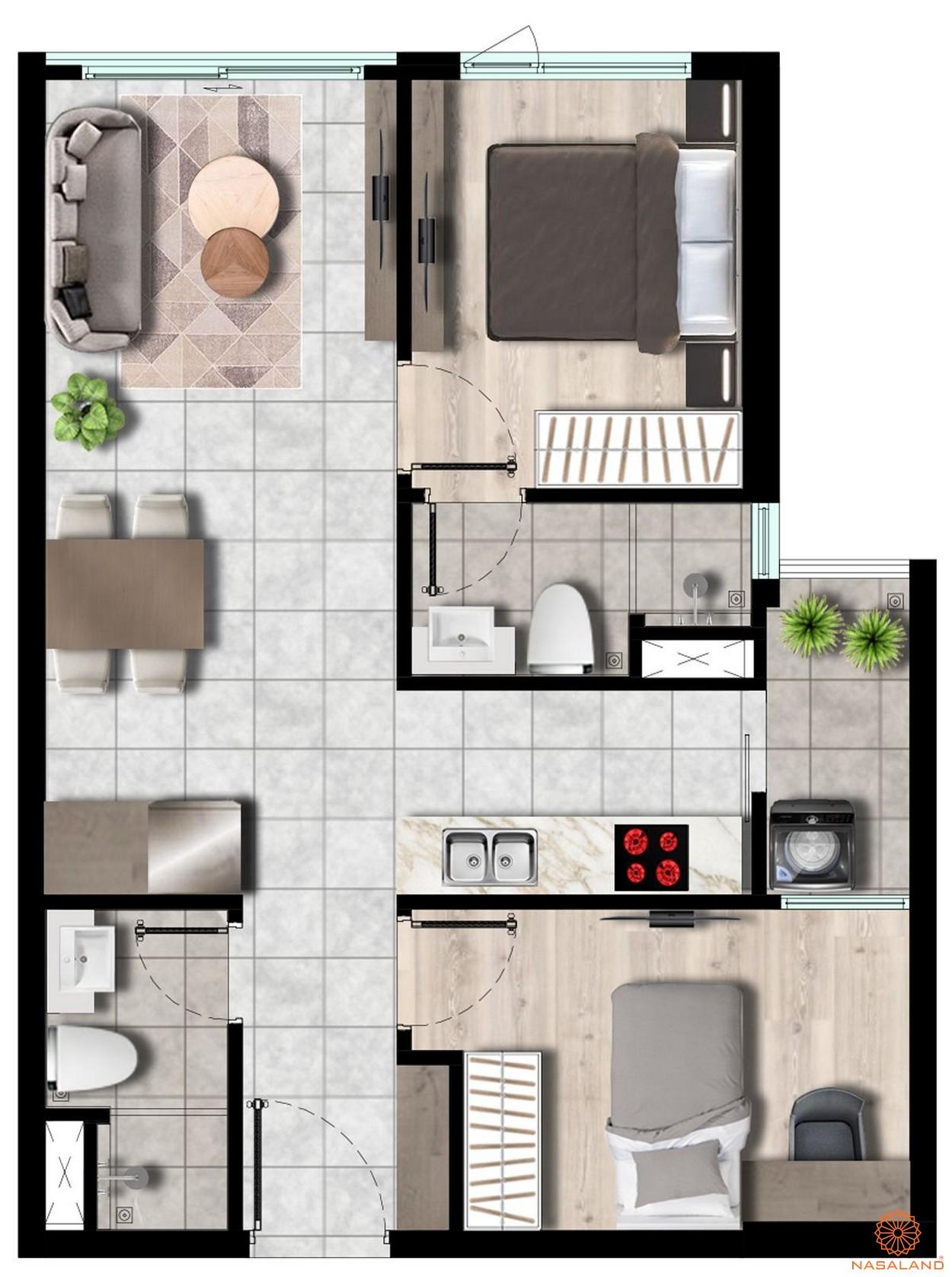 Thiết kế căn-hộ 2pn -2wc 59m2 West Gate