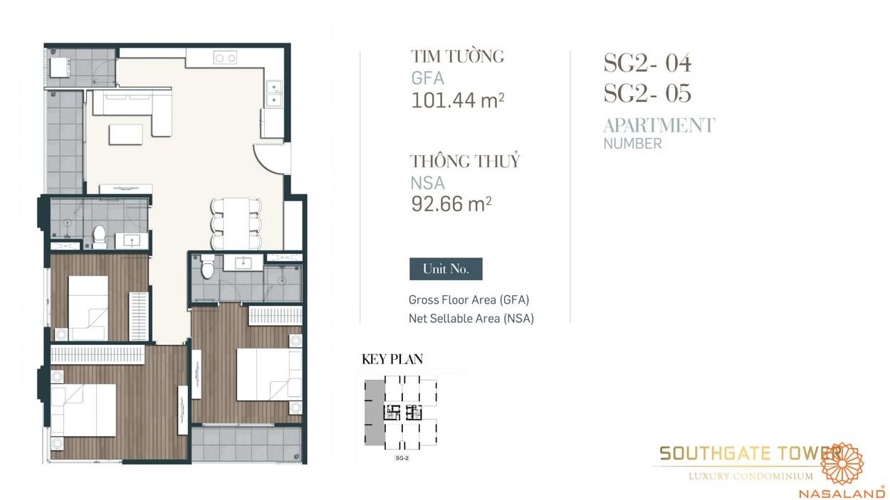 Thiết kế căn loại 3 dự án căn hộ South Gate Tower quận 7