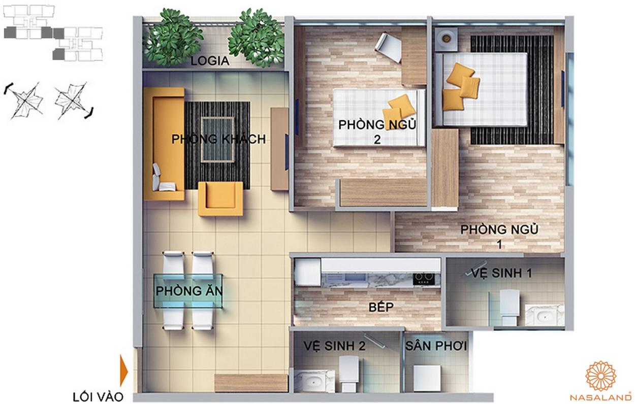 thiết kế căn hộ 2 phòng ngủ dragon hill